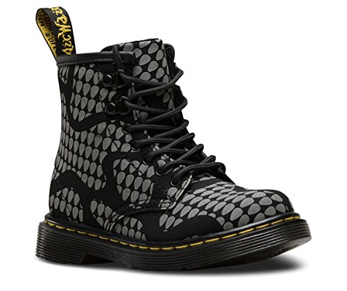 Dr. Martens Kid's Brooklee RS Lace Fashion Boots, Black Nubuck, 8 Toddler M UK, 9 M by