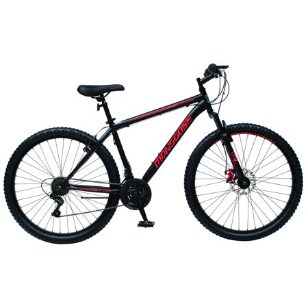 Mongoose Excursion mountain bike, 27.5 inch wheel, 21 speeds, men's frame, black/red