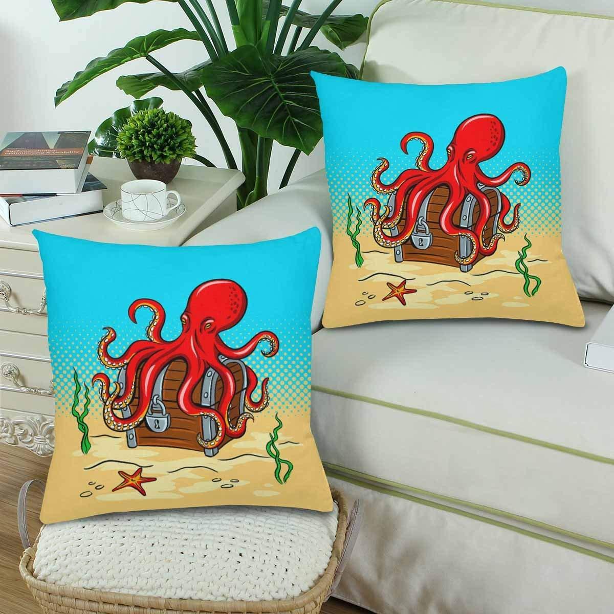 GCKG Octopus Guards Treasure Chest Pop Art Throw Pillow Covers 18x18 inches Set of 2 - image 1 de 3