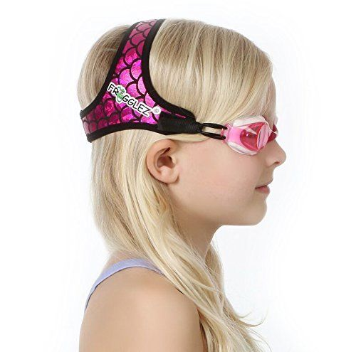 Frogglez Swim Goggles for Kids- Comfortable Neoprene Strap Does Not to Pull Hair & Reduce Leaks, Goggles have 100% UV Protection, Adjustable Strap, Hassle-free & Perfect for the Pool- Mermaid Pink