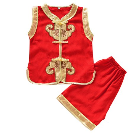 BOBORA Baby Boys Traditional Chinese Tang Suit Sleeveless Summer Cheongsam Suit Outfits Tops + Pant Set - Traditional German Outfits