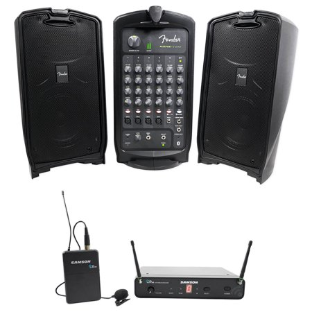 fender passport event 8 portable bluetooth pa dj speakers samson lavalier mic. Black Bedroom Furniture Sets. Home Design Ideas