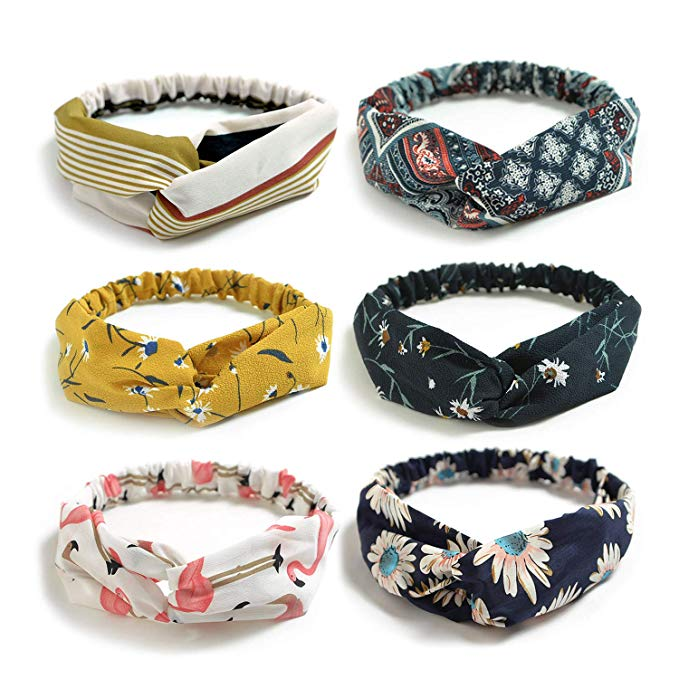 Coolmade 6 Pack Womens Headbands for Work Non Slip Boho Headbands Vintage Flower Printed Criss Cross Elastic Head Wrap Twisted Cute Hair Accessories