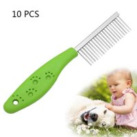 10 PCS Stainless Steel Pet Anti-slip Handle Grooming Comb - Green
