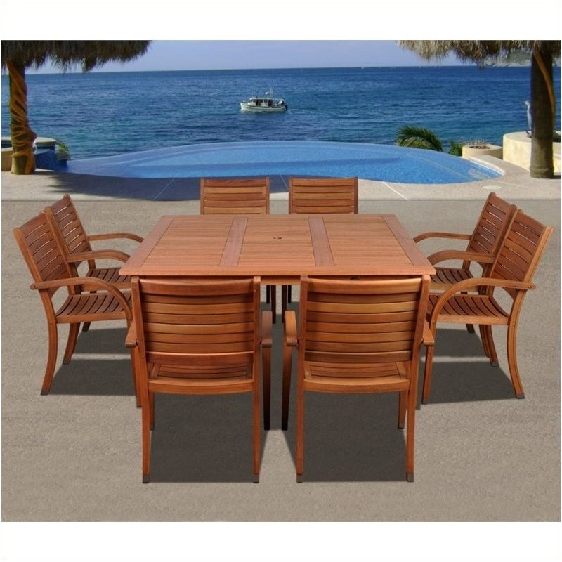 Bowery Hill 9 Piece Wood Patio Dining Room Set in Eucalyptus by Bowery Hill