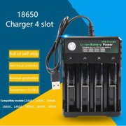 GeweYeeli 4 Slots 18650 Batteries Lithium Ion Battery Charger Portable Travel USB Charger DC 4.2V 1000mA Output