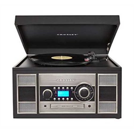 Refurbished Crosley CR2413A-BK Memory Master II Turntable with Radio, CD Player/Recorder, Cassette and Aux-In,