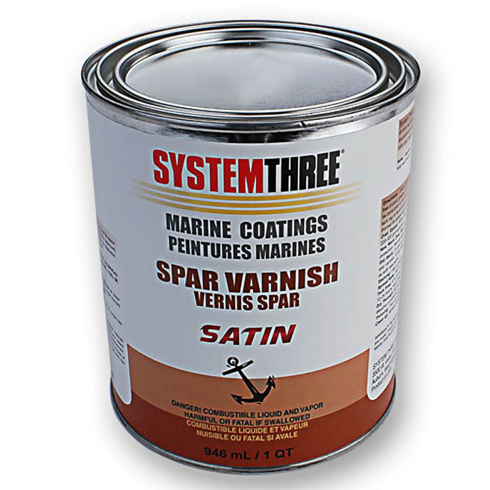 System Three 1855S16 Clear Marine Spar Urethane Varnish Coating, 1 Quart Can