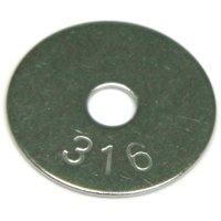 """1/4"""" x 2"""" Fender Washers 316 Stainless Steel QTY 25"""
