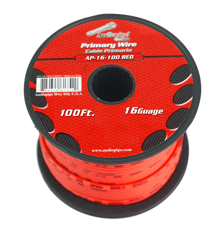 Audiopipe 16 gauge 100ft Red primary wire