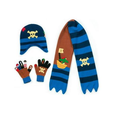 Boys Blue Pirate Hat Scarf Gloves Handmade Winter Set