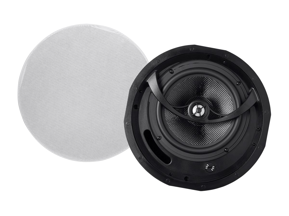 monoprice alpha ceiling speakers 8in carbon fiber 2 way pair. Black Bedroom Furniture Sets. Home Design Ideas