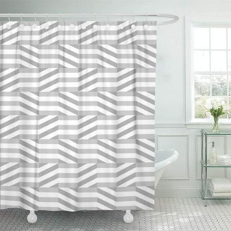 KSADK Gray Stripe Geometric Pattern Abstract Grayscale Geo Striped Braided Diagonal Grey Shower Curtain Bath Curtain 66x72 inch ()