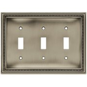 BRAINERD 64737 Beaded Triple Toggle Switch Wall Plate / Switch Plate / Cover, Brushed Satin Pewter