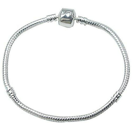 Pandora Style  Snake Chain Bead Barrel Clasp Bracelet (Silver,19cm) (Authentic Pandora Jewellery)