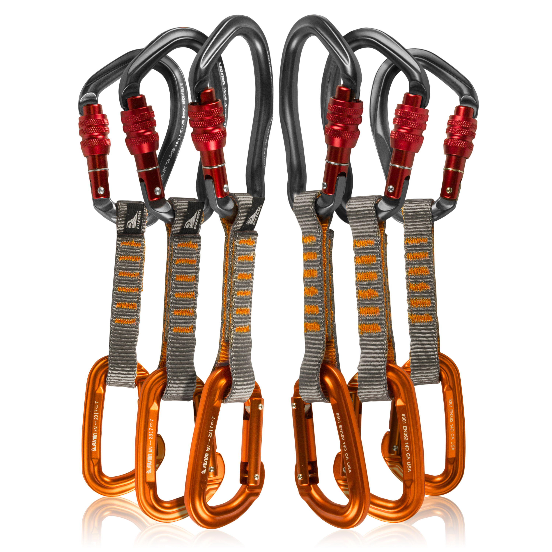 Fusion Climb 6-Pack 11cm Quickdraw Set with Techno Wave Burgundy Screw Gate Carabiner/Contigua Orange Straight Gate Carabiner