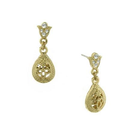 Downton Abbey Gold-Toned Filigree Teardrop Earrings