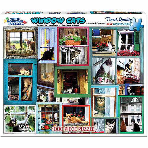 White Mountain Puzzles 1000-Piece Jigsaw Puzzle, Window Cats