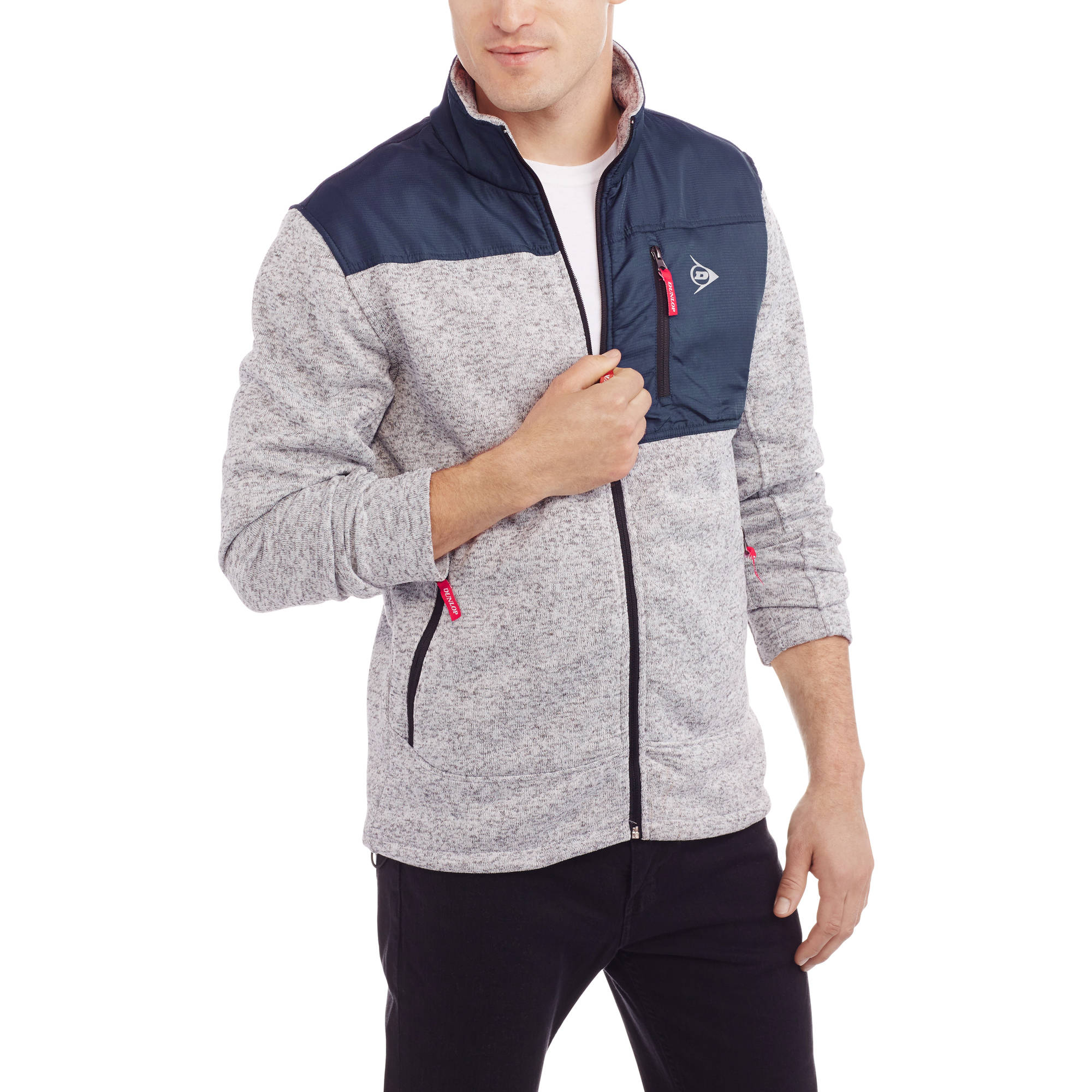 Dunlop Men's Lightweight Marled Fleece Full Zip Jacket