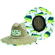 Men's Straw Sun Hat Dolphin Fish Sun Hat with Fabric Pattern Print Lifeguard Hat For, Beach, Ocean, Boating, Fishing, and Outdoor, Summer, Fits All, Malabar Hat Co