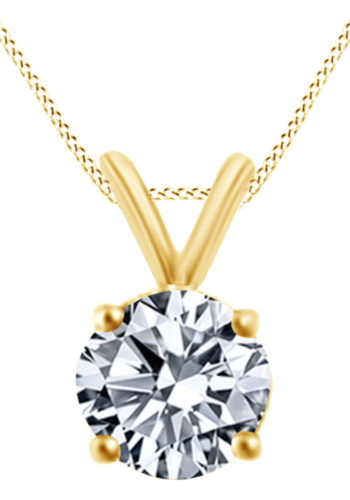 Round Cut Natural Diamond Solitaire Pendant Necklace In 14K Solid White Gold (0.75 Ct ) by Jewel Zone US