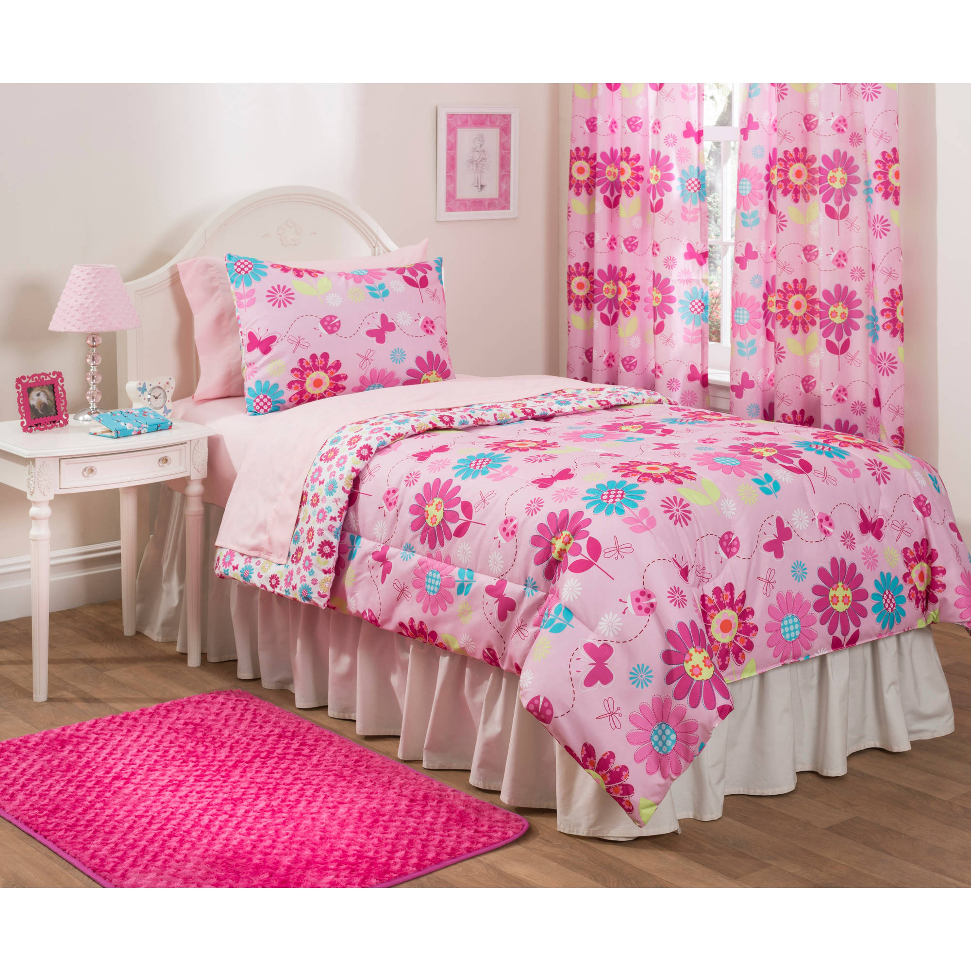 Mainstays Kids Daisy Floral Bed in a Bag Bedding Set Walmart