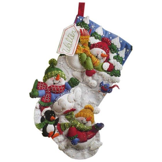 Christmas Stockings Kits.Bucilla Felt Applique Stocking Kit Snow Fun