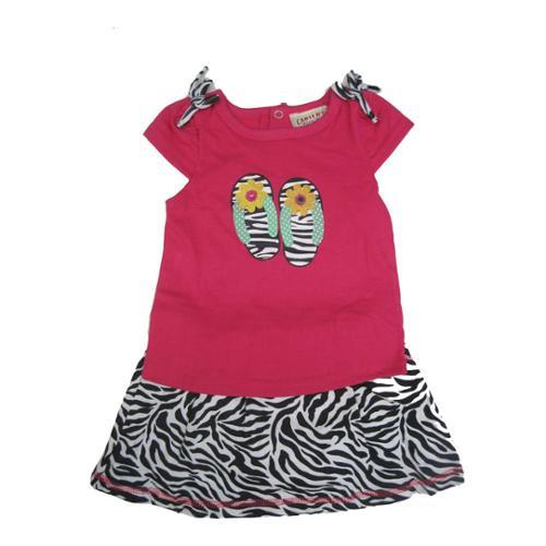 Carter's Baby Girls Fuchsia Top Black Zebra Pattern 2 Pc Skirt Outfit 24M