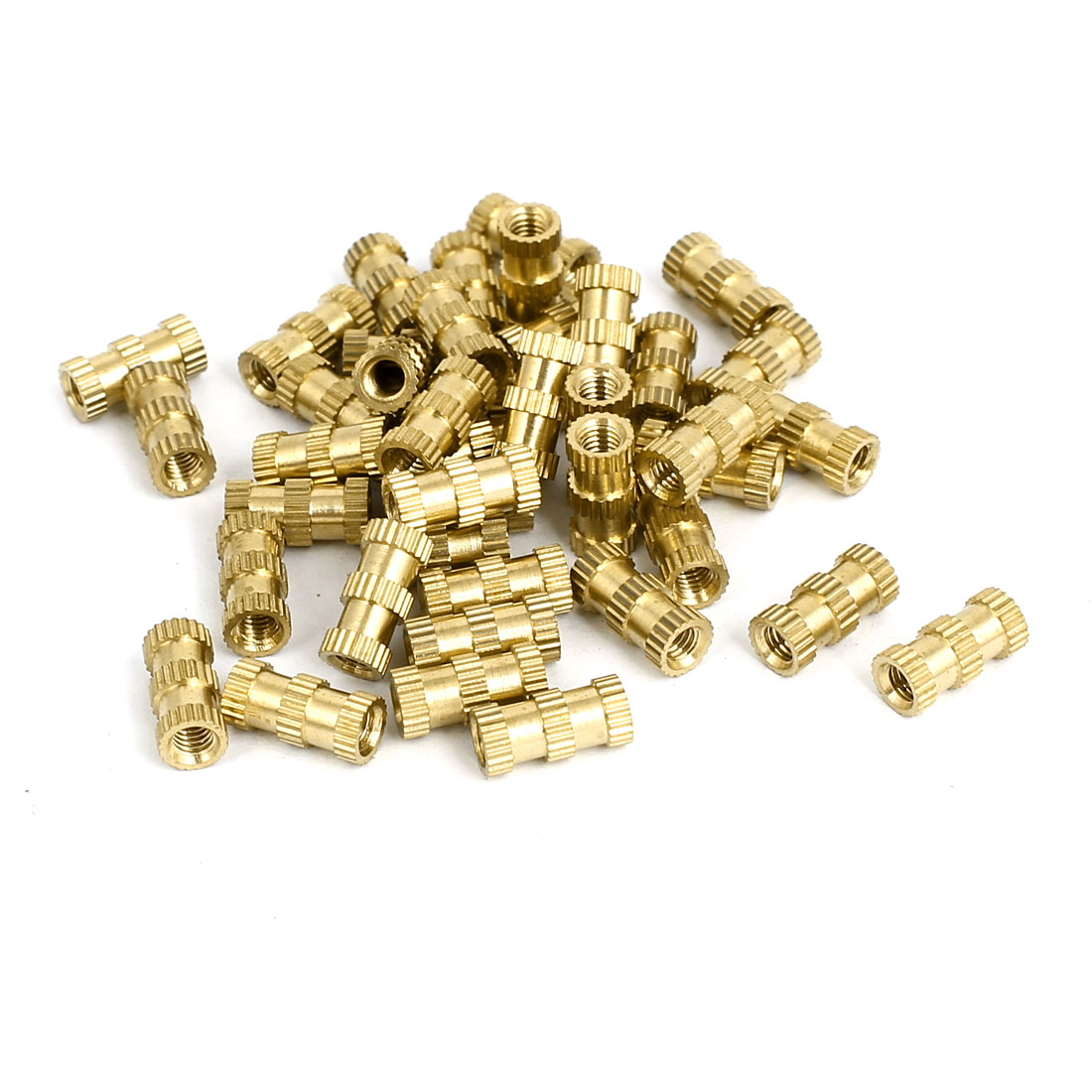 M3x10mmx4.8mm Brass Knurled Threaded Nut Insert Embedded Nuts Gold Tone 40pcs