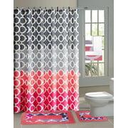 Hajar Pink Gray Chains 15 Piece Bathroom Accessory Set 2 Bath Mats