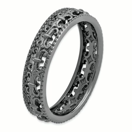 Sterling Silver Stackable Expressions Black-plated Carved Band Size 5 - image 2 de 3