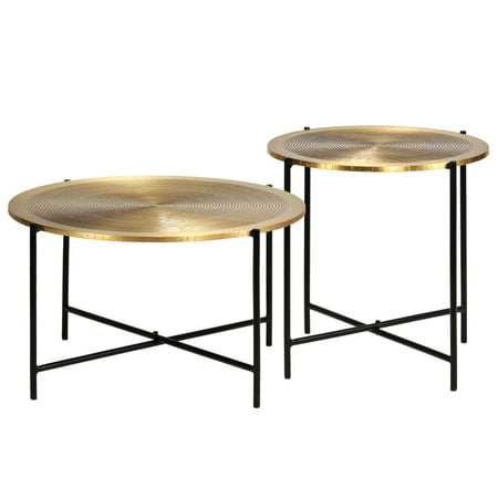 Greensen 2020 New Table Set 2 Pieces Brass-covered MDF