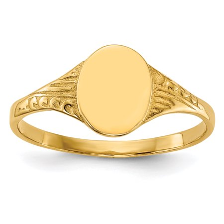 14K Yellow Gold Oval Child Signet Ring - image 5 de 5