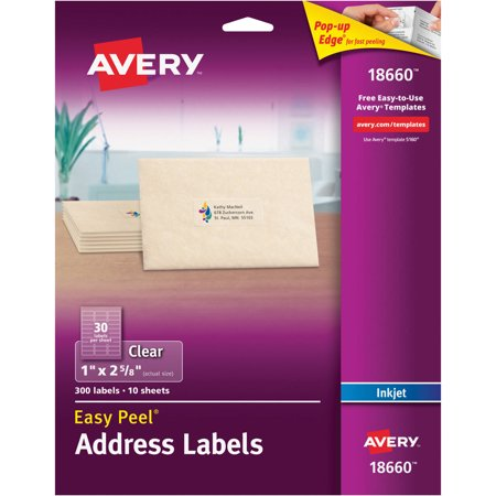 Avery Easy Peel Address Labels For Inkjet Printers  Clear  1  X 2 5 8   300 Count