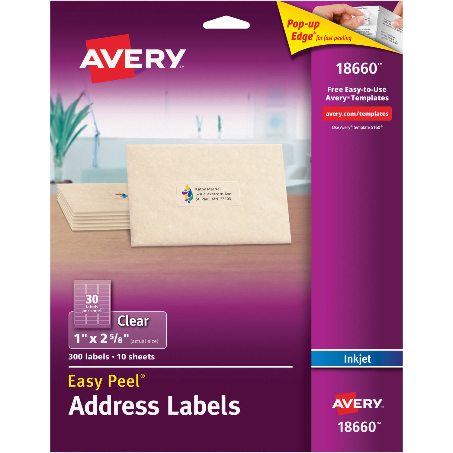 "Avery Easy Peel Address Labels for Inkjet Printers, Clear, 1"" x 2-5/8"", 300 Count"