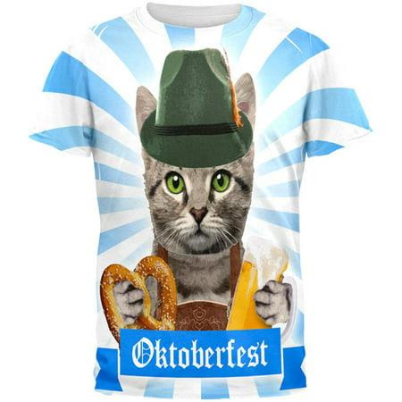 Oktoberfest Funny Cat All Over Mens T Shirt