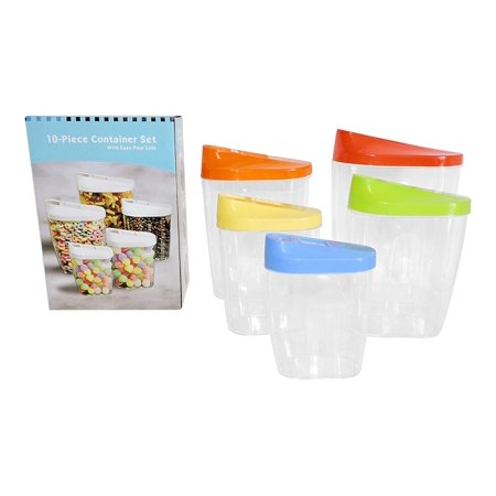 Nut Holder (Kitchen Storage Containers Easy Pour Lids Set of 5 Cereal Snacks Nuts Peas Pasta Holder)
