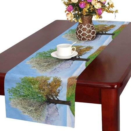 Themed Banquets (MKHERT Four Season Tree Funny Magical Nature Theme Table Runner Home Decor for Wedding Banquet Decoration 16x72)