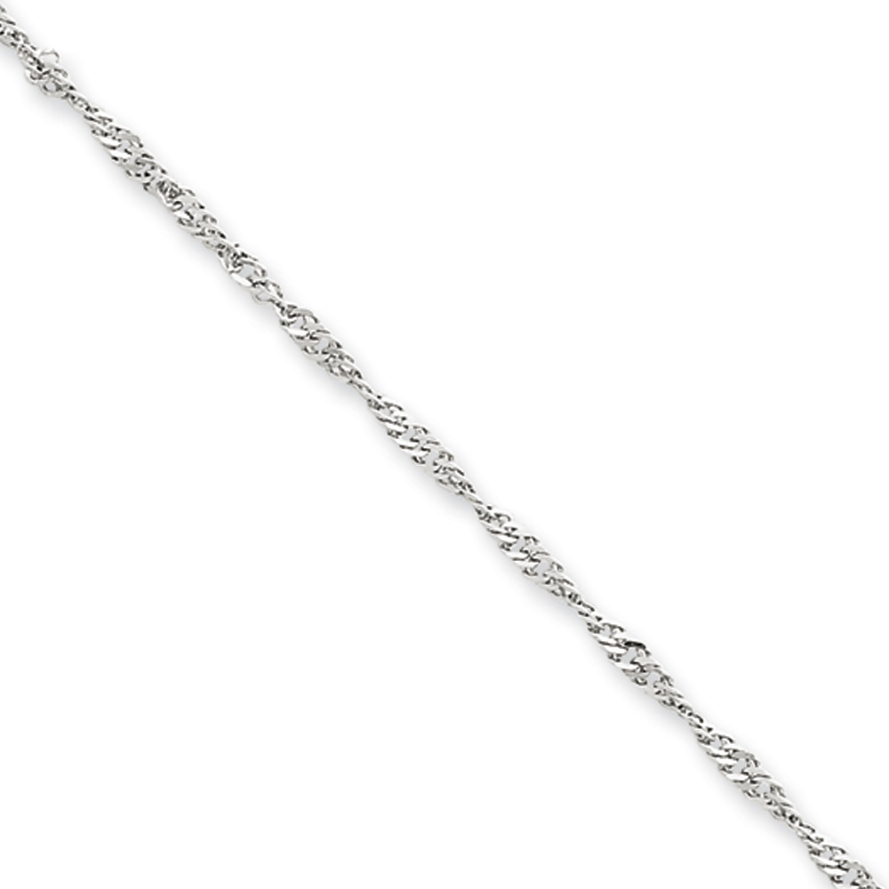 1.9mm, 14k White Gold, Singapore Chain Necklace, 20 Inch by Black Bow Jewelry Company