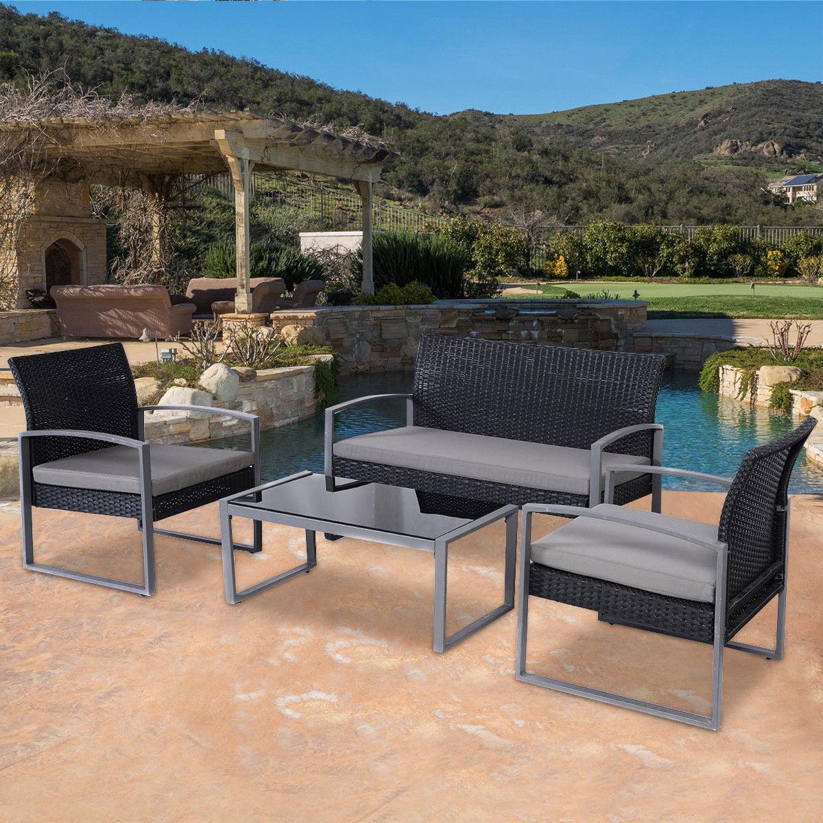 Costway 4 PCS Outdoor Patio Garden Black Rattan Wicker Sofa Set Furniture Cushioned by Costway