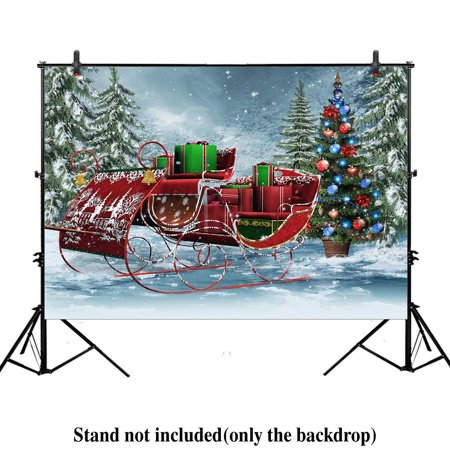 GreenDecor Polyester Fabric 7x5ft Xmas new year photography backdrop background winter trees pine Vintage sleigh with Christmas gifts forest trees present holiday partys ()