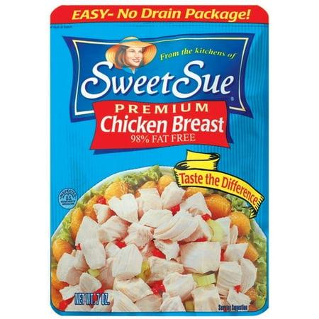 (2 Pack) SWEET SUE Chicken Breast, Gluten Free Snack, High Protein Snacks, 7oz Pouch