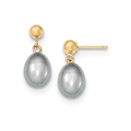 14k Yellow Gold Post Earrings 7-7.5mm Grey Freshwater Cultured Pearl Dangle Earrings