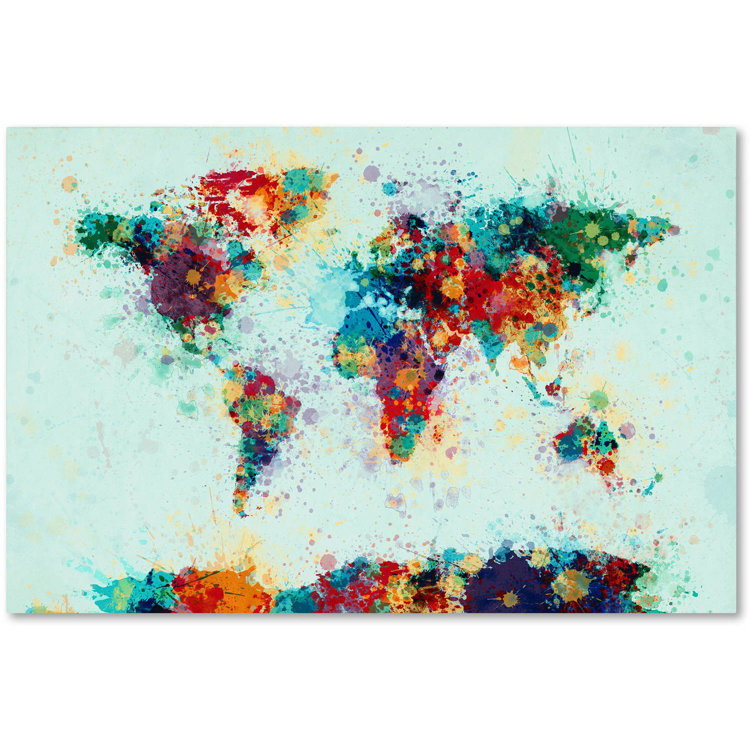 "Trademark Fine Art ""World Map Paint Splashes"" Canvas Art by Michael Tompsett"