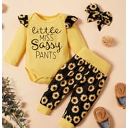 Newborn Baby Girls Floral Fall Outfit Long Sleeve Ruffle Romper Bodysuit Sunflower Leggings Pants Clothes 0-18 Months