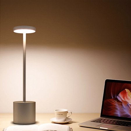 LED USB Rechargeable Table Light Stylish Night Light with 2-mode Eye-Protect Lamp Gift Color:Sliver shell Warm white light - image 8 of 8