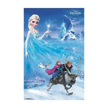 Disney Frozen One Sheet 34x22.5 Movie Art Print Poster   Childrens Movie Cast Characters Elsa Anna Olaf Kristoff Sven ()