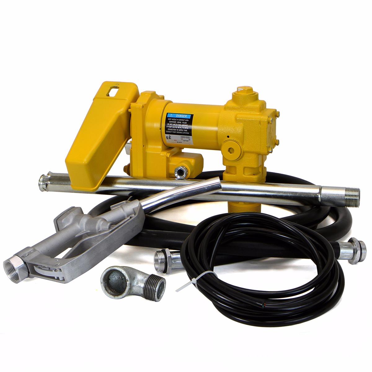 12V 1/4 HP 20GPM Diesel Gasoline Kerosene Fuel Transfer Pump Kit with Nozzle