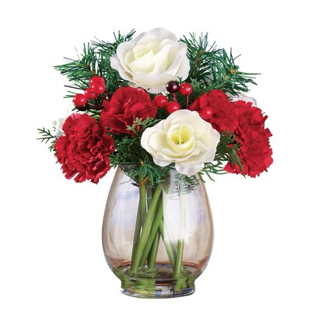 Christmas Flowers Evergreen Bouquet (Red Rose Collection)