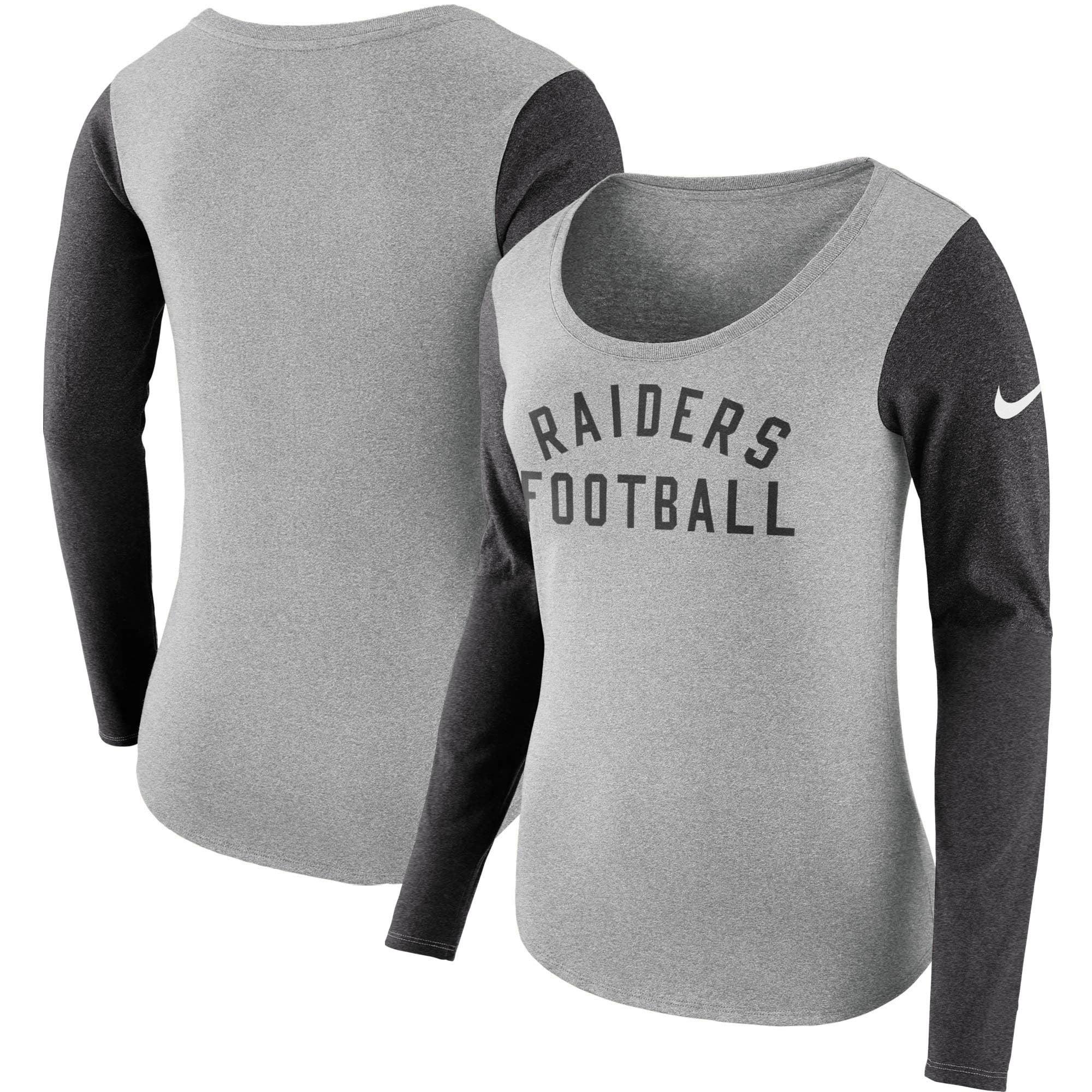 Oakland Raiders Nike Women's Modern Arch Tri-Blend Long Sleeve T-Shirt - Heathered Gray
